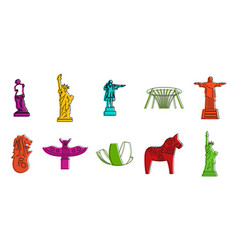 Statue icon set color outline style vector