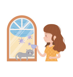 Stay at home young woman with cat in window vector