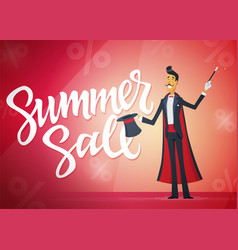 Summer sale - cartoon people characters vector