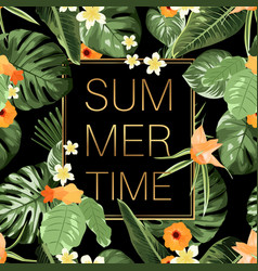 Summer time banner whith tropical flowers vector