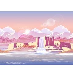 sunrise over beautiful waterfall vector image