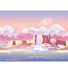 Sunrise over the beautiful waterfall vector
