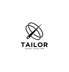 Tailor needle logo design template vector
