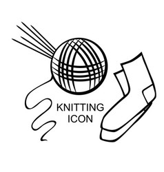 Tangle of thread and five knitting needles vector