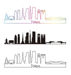 tokyo v3 skyline linear style with rainbow vector image