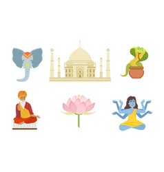 traditional indian symbols set elephant taj vector image