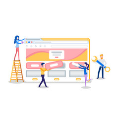 Web site creation browser tab and online page vector