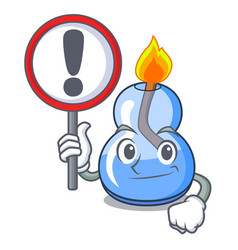 With sign alcohol burner character cartoon vector