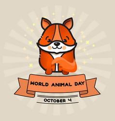 World animal day card with cute fox and vector