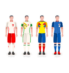 World cup group h jerseys kit vector
