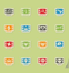 Cinema genre icon set vector