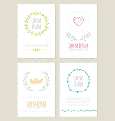 Hand drawn vintage cards collection vector image