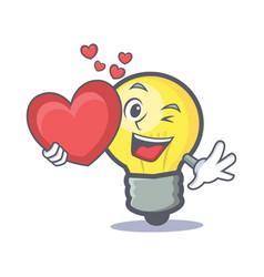 Light bulb character cartoon with heart vector