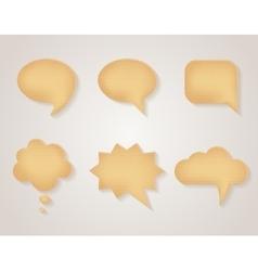 Paper cardboard speech bubbles set vector image