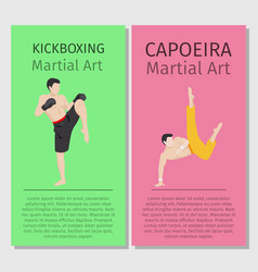 asian martial arts kickboxing and capoeira vector image