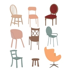 chairs armchair furniture icon set flat interior vector image