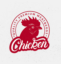 chicken logo label print poster for butchery vector image