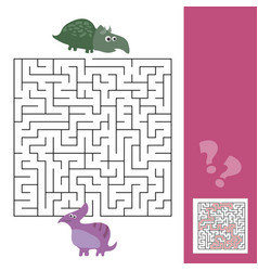 funny maze for children help the dino to find vector image vector image