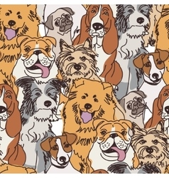 Group dogs seamless pattern color vector image vector image