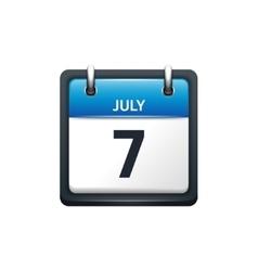 July 7 Calendar icon flat vector image