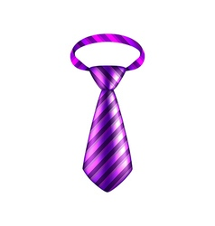 Purple striped tie isolated on white vector image vector image