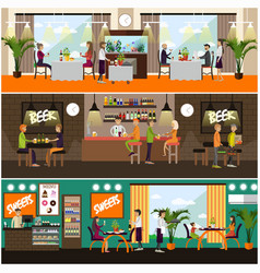 set of pub and restaurant concept posters vector image