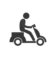 delivery man drive motorcycle figure pictogram vector image