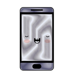 kawaii smartphone in colored crayon silhouette vector image vector image