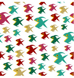pattern with cartoon fishs vector image
