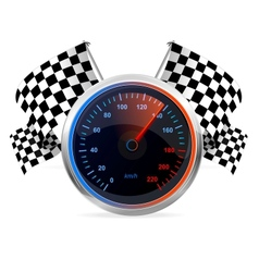 Racing Speedometer and checkered flags vector image