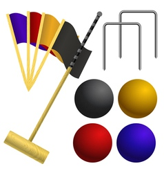 Set of objects for a game of croquet vector image vector image