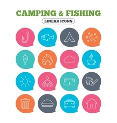 Camping and fishing icon Coffee cup hamburger vector image