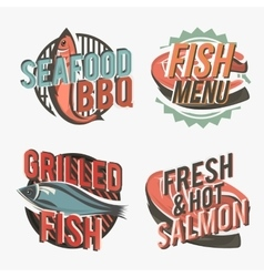Creative set of fish logos include salmon steak vector image vector image