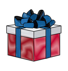 Drawing gift box with flag america color vector