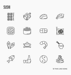 japanese food thin line icons set sushi noodle vector image