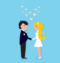 wedding cute bride and groom vector image vector image