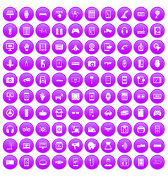 100 adjustment icons set purple vector
