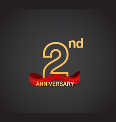 2 anniversary logotype design with line golden vector