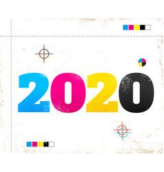 2020 in cmyk style vector