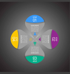 4 steps of infographic with blue magenta green vector image
