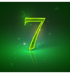 7 Green glowing number seven vector image