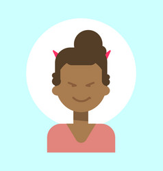 African american female with devil horns emotion vector