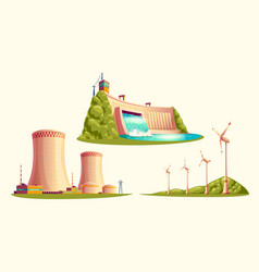 Alternative energy sources cartoon set vector