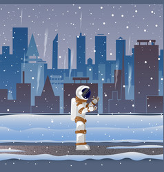 astronaut on street in big city in the snow vector image