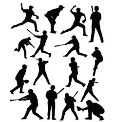 Baseballer silhouettes vector