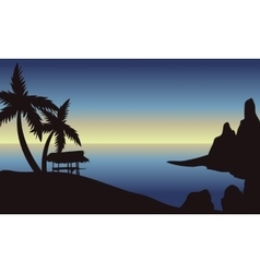 Beach at morning scenery vector