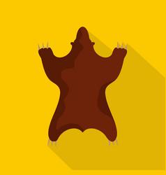 Bear skin icon flat style vector
