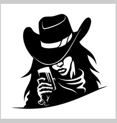 Beautiful cowgirl woman with glass vector