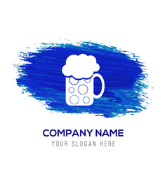 Beer mug icon - blue watercolor background vector