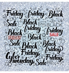 Black Friday Set over Silver vector image
